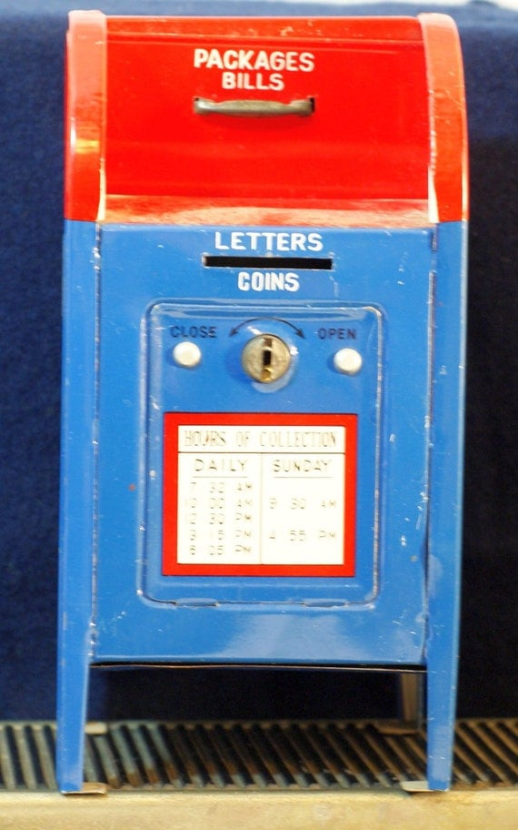 Vintage Tin US Mail Red White Blue Bank