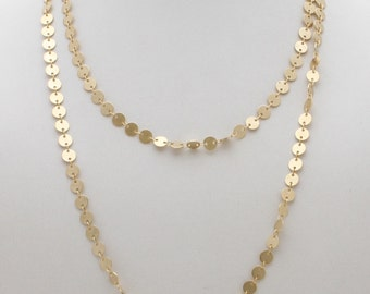 Long Gold Necklace, 5 mm gold discs chain , Matte gold chain