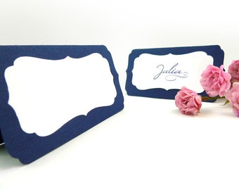 Wedding Escort Cards, Tented Place Cards - 20 Die Cut Bracket Table Tents with Removable Insert Cards, name cards, many colors available