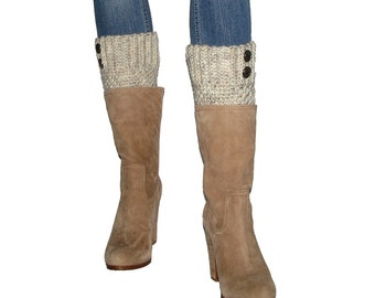 Crochet Beige Tweed Boot Cuffs With Antique Brass Buttons, Neutral Tan Cream Ivory Handmade Leg Warmers, Winter Fashion Trend Gift For Women
