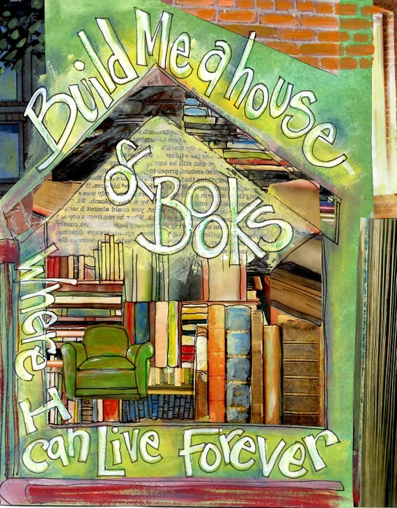 Book Gifts, HOUSE OF BOOKS  Book Lovers,Wall Art, Librarians orTeachers, Limited Edition Mixed Media Art, by Seattle Artist  Mary Klump