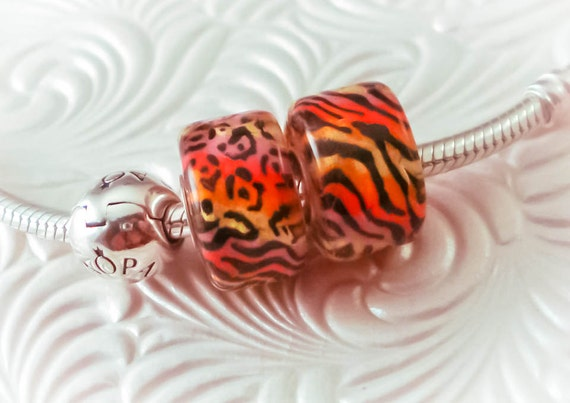 Lampwork Hot Kitty Big Hole Bead Pair Sterling Silver Fully Lined Handmade SRA Artist