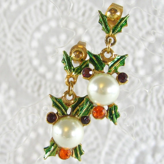 RESERVED, Vintage Dangle Earrings, Christmas Holly Leaves, Green Enamel, Red Orange Rhinestones, White Pearls, Pierced, RESERVED