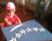Children's Custom Table with two benches - Handcrafted and Personalized with Their Name in the Stars