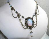 Opalite Moon Stone Cabochon Vintage Style Antique Brass Statement Necklace
