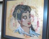 Vintage Oriental Art - Painting - Woman - Gold Leaf & Silk - 1950's - Retro Geisha, Exotic, Tahitian, Asian Chinoiserie