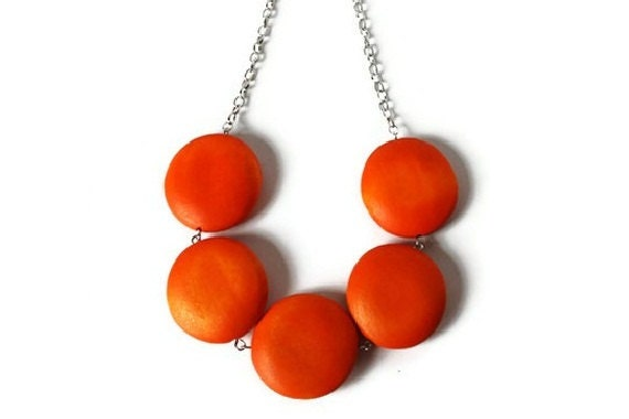 Orange Necklace - Chunky Wood Necklace - Tangerine Tango Geometric Jewelry