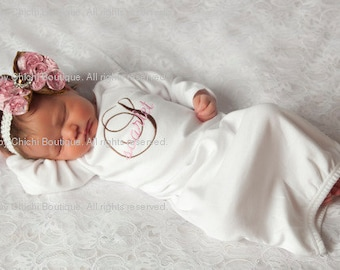Newborn girl take home outfit Newborn girl gown Infant Gown Baby girl gown Monogrammed gown Personalized gown Baby shower gift