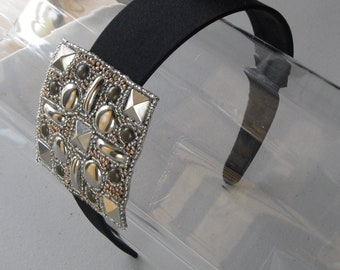 Silver Beaded Studded Applique Black Satin Headband, for weddings, parties, evening, special occasions