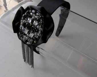 Black Satin Beaded Crystal Flower Chain Satin Headband, for weddings, parties, evening, special occasions
