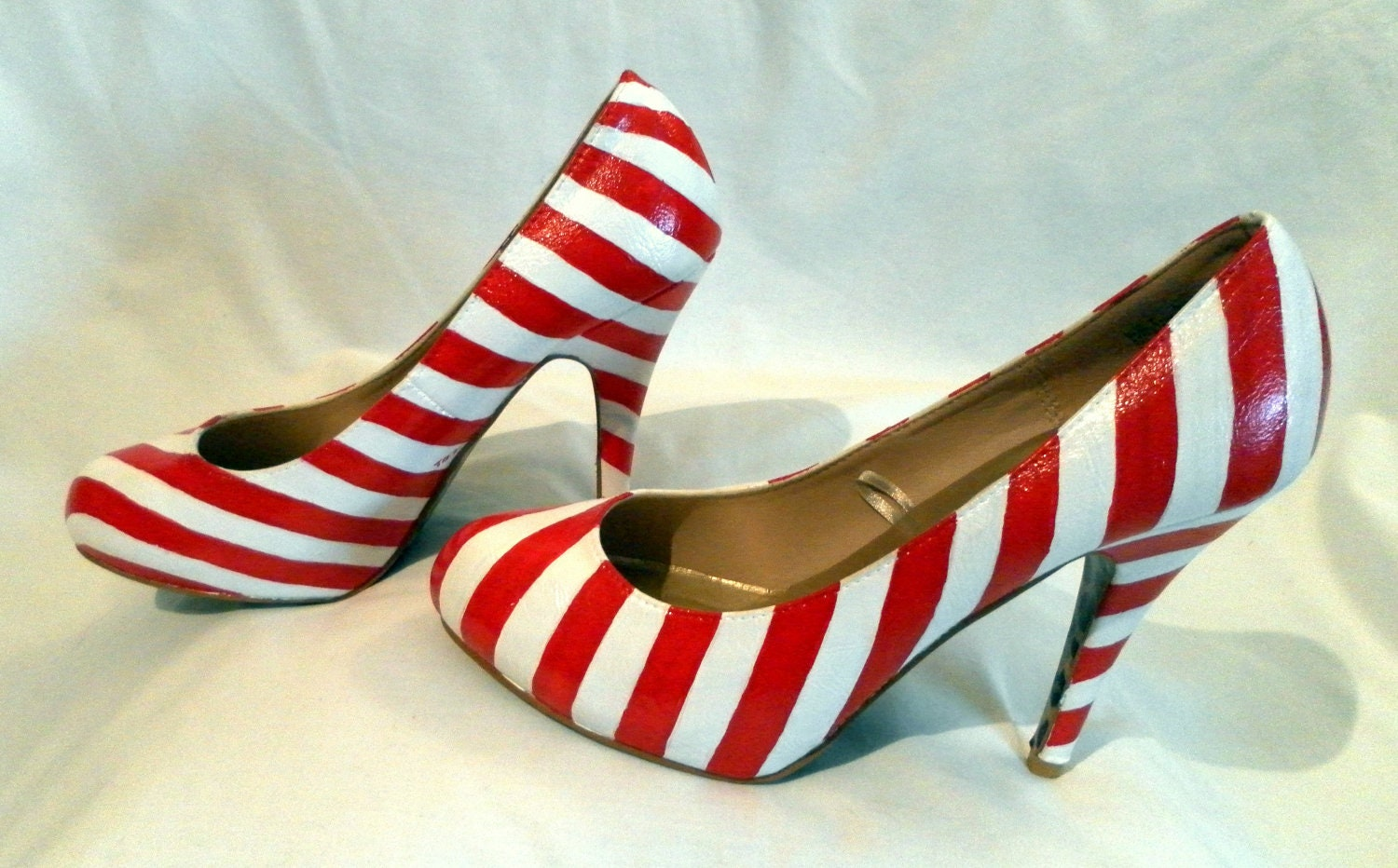 Custom hand painted candy cane striped high heel