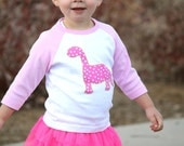 Dinosaur Shirt Girls pink baby girl toddler unique modern Christmas gift