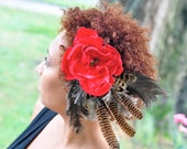 Boho Woodland Headpiece, Red Feathered Fascinator Flapper Inspired
