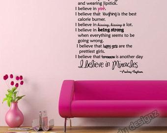 Audrey Hepburn Quote Vinyl Wall Decal | I Believe in Pink | Paris Room Decor | Happy Girls Quote | Teen Girl Wall Quotes | Vinyl Wall Decal