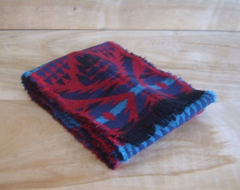 SALE - Wool Scarf - Arrow Red Turquoise Navy Blue