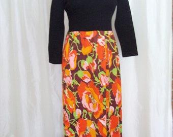 Vintage womens 70s long maxi dress, mod, boho, hippie, orange black floral, hostess gown union label