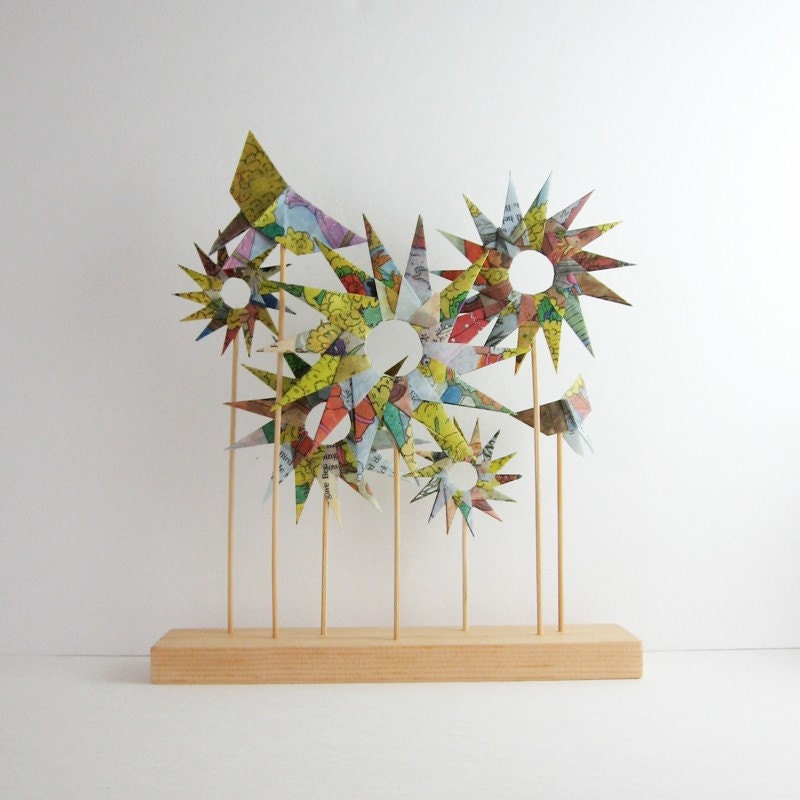 Origami Garden Paper Sculpture Pastel Home Decor Origami