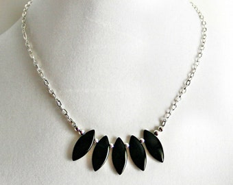 HANDMADE Jet Black Glass Fringe and Silver Plated Chain Necklace