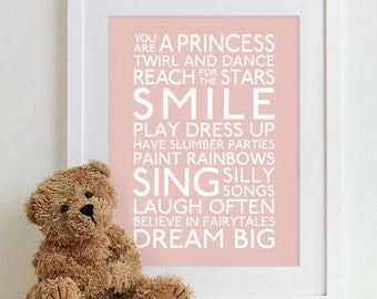 Baby girl art, girl nursery decor, baby girl wall art baby girl decor, girl nursery print girl nursery art Family Playroom Rules Sign