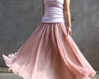 tulle skirt,tutu skirt ,tutu skirt,chiffon maxi skirt---golden pink skirt long skirt pleated skirt spring skirt