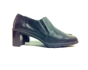 Minimal Leather Chelsea Ankle Boots 8 - Black Leather Booties 8 - High Heel Ankle Boots