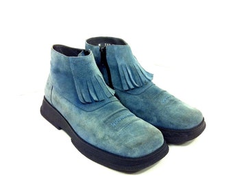 Platform Leather Fringe Ankle Boots 7 - Blue Italian Boots 7 - Slip On Western Boots