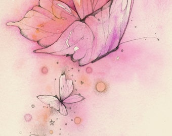 PRINT 5 x 7 Love Wildly Butterfly and hand pink inspiring A4 print