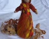 SALE ITEM : Waldorf doll, Spirit of Autumn standing figure, Autumn doll, Waldorf inspired needle felted standing Doll, orange, leaf doll,