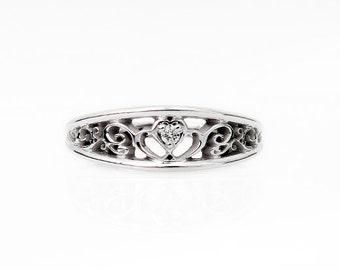 Heart filigree, Diamond ring, White gold wedding band, filigree ring, heart diamond,  Diamond wedding band, vintage style, wedding ring