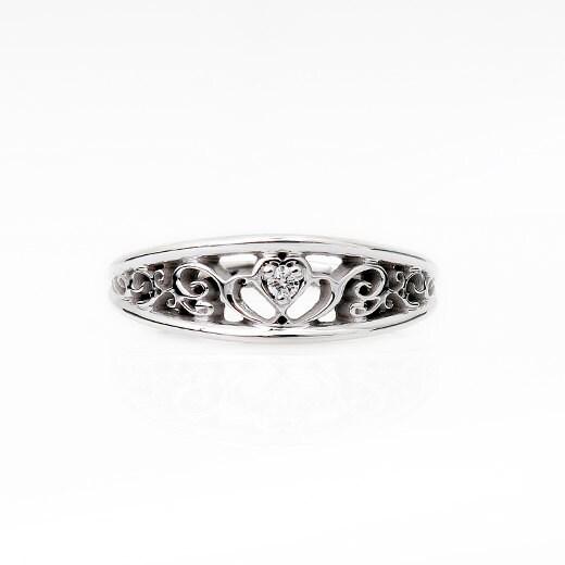 Heart Filigree Diamond Ring White Gold Wedding Band