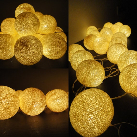 20 Big Cotton Balls Cream Tone Fairy String Lights Party Patio Wedding Floor Table or Hanging Gift Home Decor Christmas Bedroom