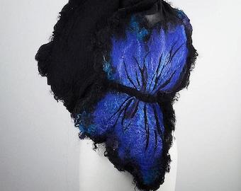 Felted Scarf Butterfly Scarf Wrap Scarves wild Felt Nunofelt Nuno felt Silk Silkyfelted boho Eco butterfly fairy shawl Fiber Art