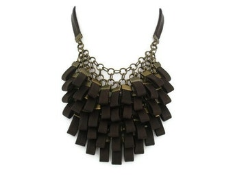 Brown Leather Cluster Statement Necklace Leather Jewellery Gift for Her