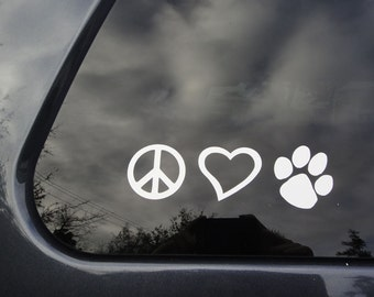 FREE SHIPPING - Peace, Love, Paw sticker