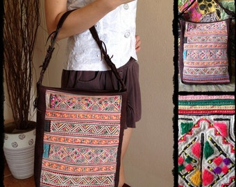 Hmong Bag decorated with Brown Hemp fabric of the Hilltribes Thailand. (KP1601-BR)