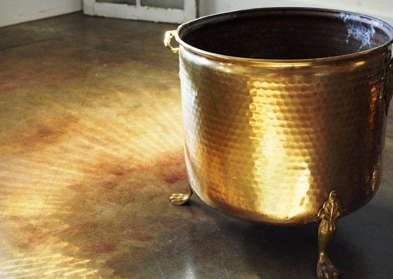 Hammered Brass Bucket Brass Firewood Bucket Fireside By