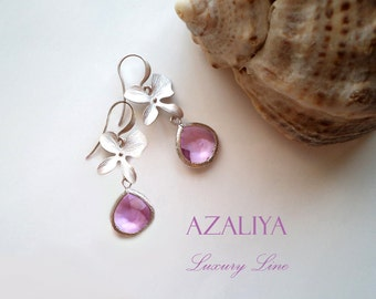Silver Plated Orchid Palace Chandeliers with Lavender Lilac Crystals. Azaliya Luxury Line. Brides, Bridesmaids Earrings. Gift Wrapping.