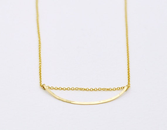 Curved bar necklace - gold filled necklace - minimalist necklace - delicate necklace - pendant necklace - gold filled chain - Gold Arc