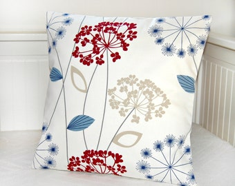 blue beige dark red decorative pillow cover, dandelion flower cushion cover 16 inch