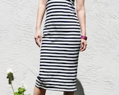 Striped Sleeveless Dress - Navy and Oatmeal