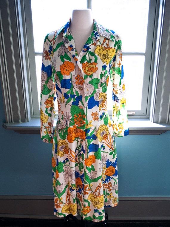 Vintage BOTANICAL PRINT drop-waist shirtdress