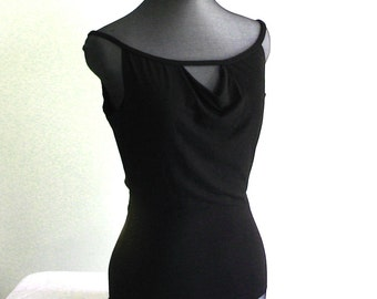 Black tank top low-back, in bamboo jersey with draped neckline