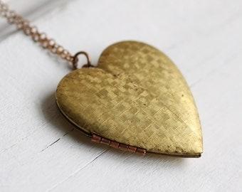 Heart Locket... Vintage Brass Big Old Plain Locket