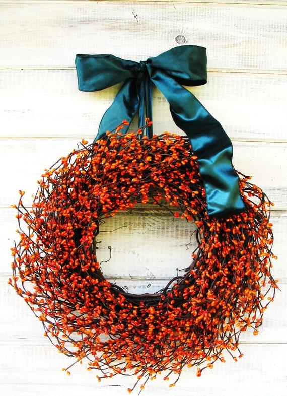 Thanksgiving Wreath-Fall Door Wreath-Fall Wreaths-Holiday Door Wreath-Orange Berry Wreath-Scented Wreaths-Rustic Door Decor-Scented Wreaths