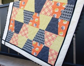SHOP CLOSING SALE Modern Baby Blanket, Gray Yellow Peach Patchwork Quilt, Baby Girl Shower Gift, Free Shipping Homemade Crib Bedding