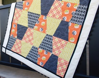 SALE Modern Baby Blanket, Gray Yellow Peach Patchwork Quilt, Baby Girl Shower Gift, Free Shipping, Ready to Ship, Homemade Crib Bedding