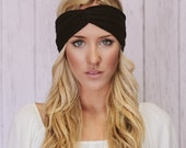 Turban Headband Women's Jersey Turband Twist Hair Band Headband Head Wrap with Twisted Center for Women and Girls in Black (HB-156)