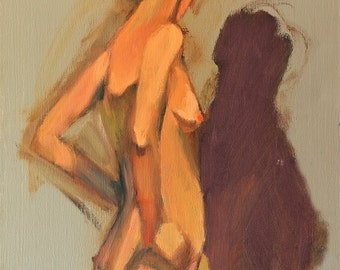 """Female nude original oil painting by Vernon Grant. 12"""" x 16"""" Nude Study on stretched canvas"""