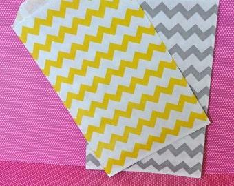 24 Yellow and Gray Chevron Favor Bags - Paper Party Bags