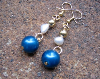 Eco-Friendly Dangle Earrings - Starry Night - Recycled Vintage Goldtone Metal and Pearl Beads in Deep Blue and White